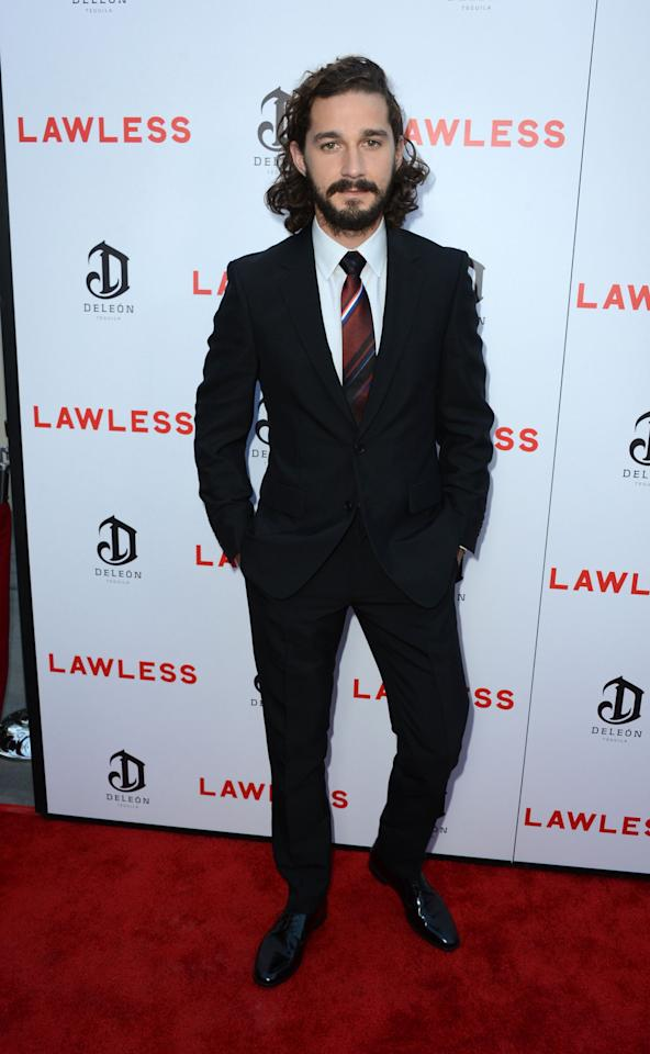 """HOLLYWOOD, CA - AUGUST 22:  Actor Shia LaBeouf arrives at the Premiere of the Weinstein Company's """"Lawless"""" at ArcLight Cinemas on August 22, 2012 in Hollywood, California.  (Photo by Frazer Harrison/Getty Images)"""