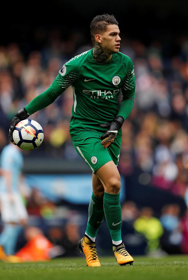 <p>Manchester City keeper Ederson Moraes looks to start an attack </p>
