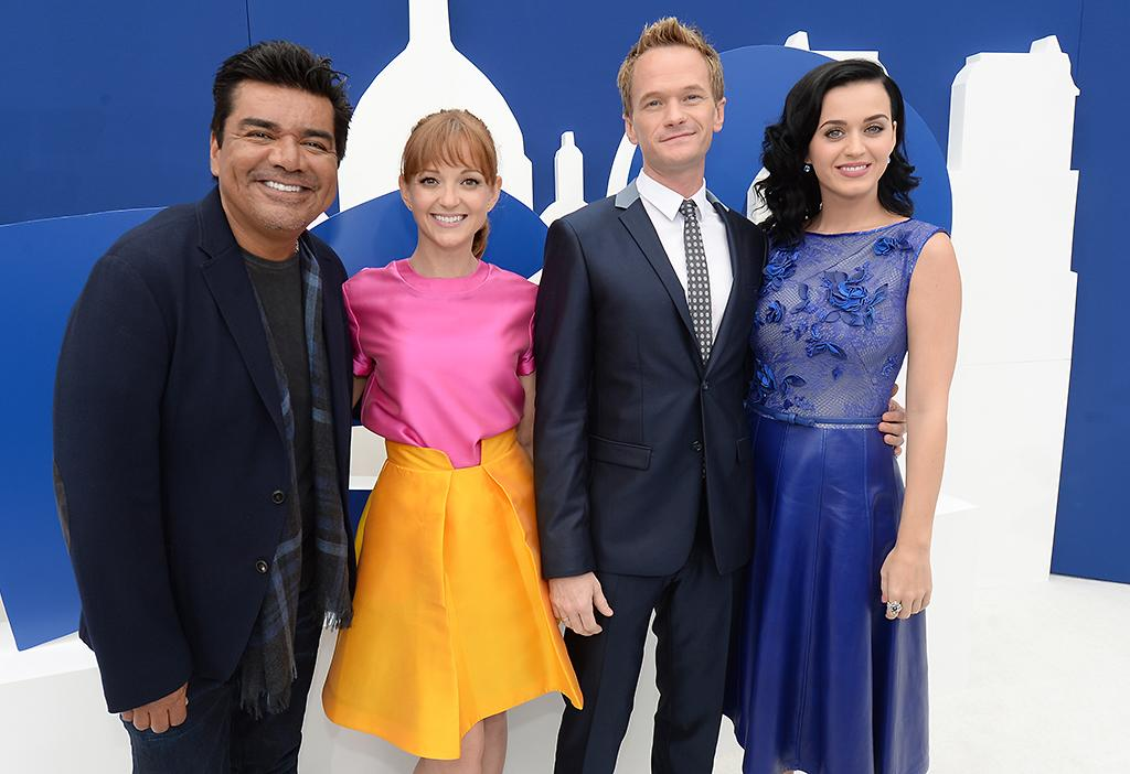 "WESTWOOD, CA - JULY 28:  (L-R) Actors George Lopez, Jayma Mays, Neil Patrick Harris and Katy Perry attend the Los Angeles premiere of ""The Smurfs 2"" at Regency Village Theatre on July 28, 2013 in Westwood, California.  (Photo by Michael Buckner/Getty Images for SONY)"
