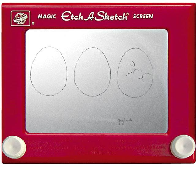 """<b>Eggs Cracking</b> <br> <p>It looks simple, but try reproducing this sketch – which somehow does away with the interconnected lines that define Etach-A-Sketch drawings --and you'll find it's anything but. However Jeff Gagliardi pulled it off, it's an impressive feat.</p> <br> (Credit: <a href=""""http://www.etch-a-sketchartist.com/"""">Jeff Gagliardi</a>)"""