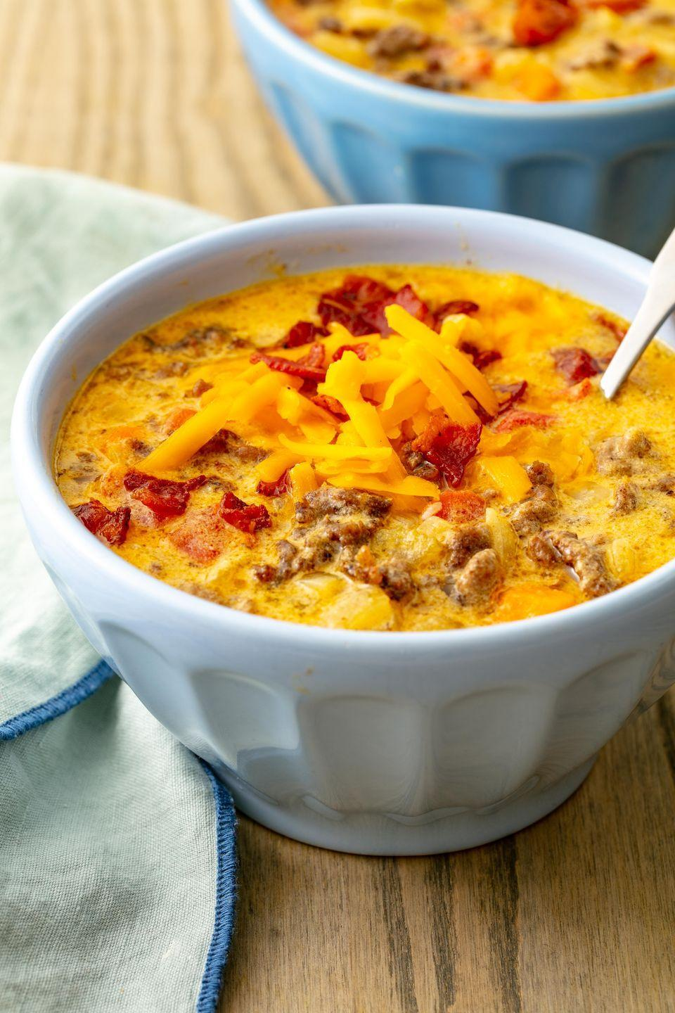 "<p>Burger in a bowl. </p><p>Get the recipe from <a href=""https://www.delish.com/cooking/recipe-ideas/a21972133/easy-cheeseburger-soup-recipe/"" rel=""nofollow noopener"" target=""_blank"" data-ylk=""slk:Delish"" class=""link rapid-noclick-resp"">Delish</a>. </p>"