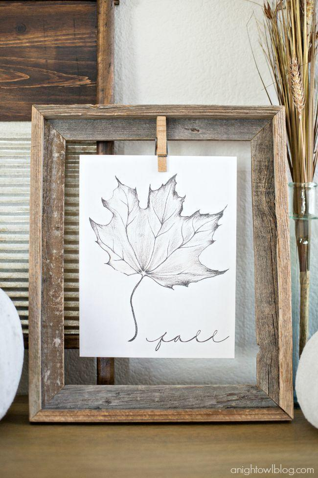 """<p>If spooky, theme-y decor isn't your thing for Halloween decorating, try a printable that celebrates fall in an elegant, timeless way. Just print and frame this rustic maple leaf for a pretty nod to the season… with nary a skeleton or ghost in sight.</p><p><em><a href=""""https://www.anightowlblog.com/free-fall-printable/"""" rel=""""nofollow noopener"""" target=""""_blank"""" data-ylk=""""slk:Get the printable at A Night Owl Blog »"""" class=""""link rapid-noclick-resp"""">Get the printable at A Night Owl Blog »</a></em></p>"""