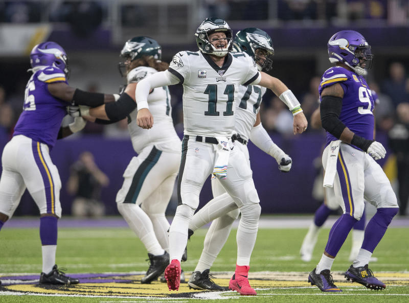 Philadelphia Eagles quarterback Carson Wentz (11) reacts after a delay of game call in fourth quarter of their NFL football game against the Minnesota Vikings, Sunday, Oct. 13, 2019, in Minneapolis. (Elizabeth Flores/Star Tribune via AP)