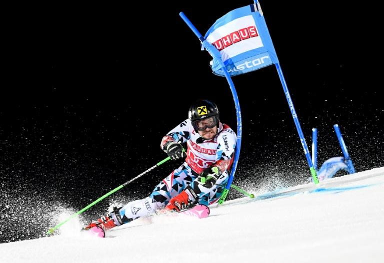 Austria's Marcel Hirscher competes during the FIS Ski World Cup Parallel Slalom city event at Hammarbybacken in Stockholm on January 31, 2017