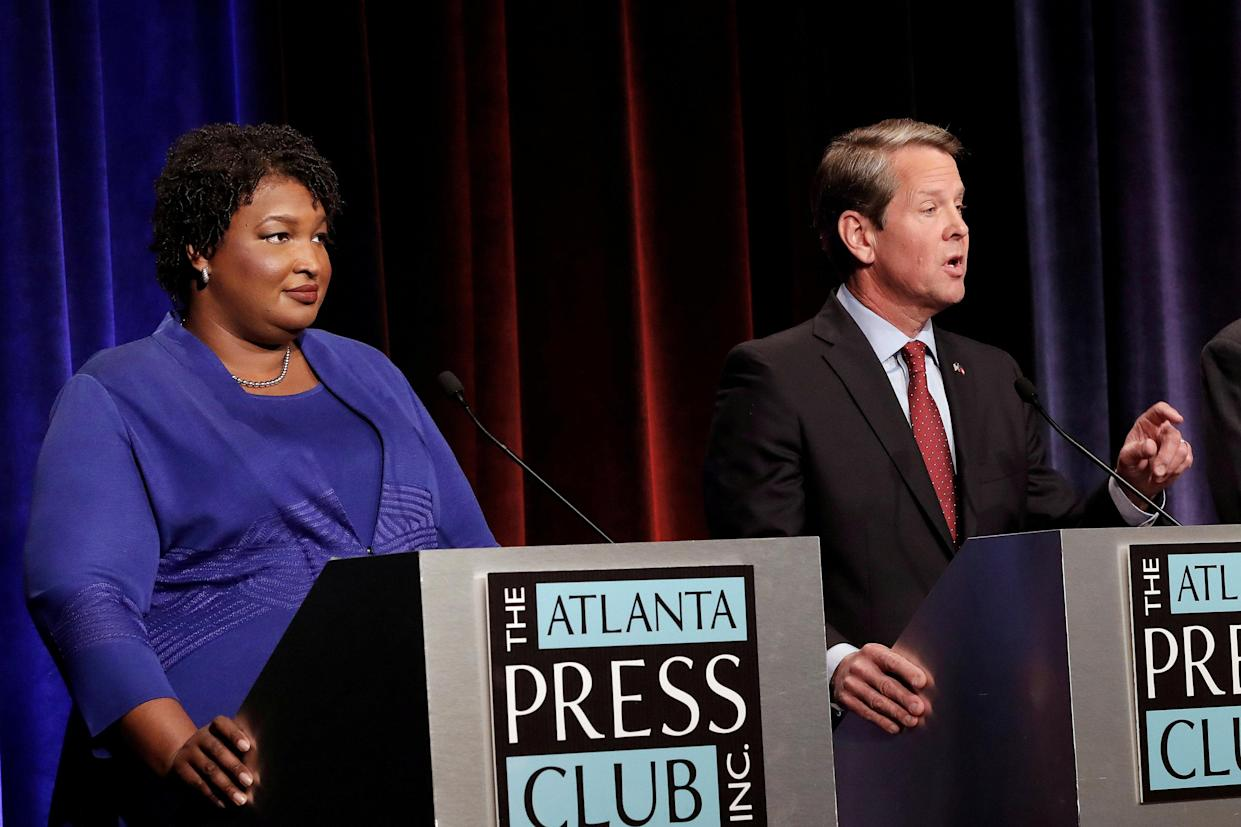 "<span class=""s1"">Stacey Abrams and Brian Kemp during their debate in Atlanta. (Photo: John Bazemore/Reuters)</span>"