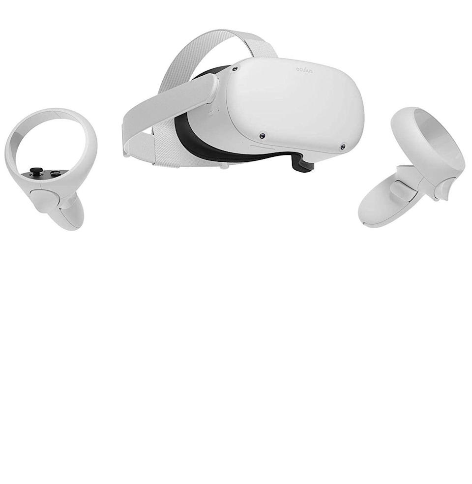 """<p><strong>Oculus</strong></p><p>amazon.com</p><p><strong>$299.00</strong></p><p><a href=""""https://www.amazon.com/dp/B08F7PTF53?tag=syn-yahoo-20&ascsubtag=%5Bartid%7C10054.g.14381053%5Bsrc%7Cyahoo-us"""" rel=""""nofollow noopener"""" target=""""_blank"""" data-ylk=""""slk:Buy"""" class=""""link rapid-noclick-resp"""">Buy</a></p><p>In our opinion, this <a href=""""https://www.esquire.com/lifestyle/a34348723/oculus-quest-2-vr-headset-gaming-review/"""" rel=""""nofollow noopener"""" target=""""_blank"""" data-ylk=""""slk:all-in-one VR headset"""" class=""""link rapid-noclick-resp"""">all-in-one VR headset</a> is the absolute best way to get into virtual reality, which is exceedingly better than current reality, without needing extra hardware to do it. It also happens to be an excellent <a href=""""https://www.esquire.com/lifestyle/health/a34272437/oculus-quest-2-virtual-reality-headset-netflix/"""" rel=""""nofollow noopener"""" target=""""_blank"""" data-ylk=""""slk:Netflix streamer"""" class=""""link rapid-noclick-resp"""">Netflix streamer</a>.</p>"""