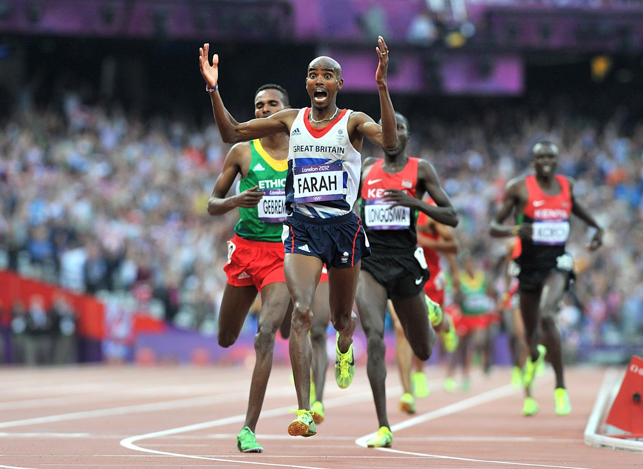 <p>Mo Farah is the seventh man to have won 5,000m and 10,000m gold at an Olympics. In 2012, the 29-year-old created history in time of 13min 41.66sec. Four years previously Farah had failed to qualify for the 5,000m Olympic final and struggled through a period of bad depression. </p>