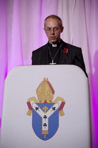 Britain's bishop of Durham Justin Welby speaks during a news conference following the announcement he will become the next archbishop of Canterbury at Lambeth Palace in London, Friday, Nov. 9, 2012. The former oil executive with experience in conflict resolution has been chosen to lead a global Anglican Communion riven by sharply divided views on gay people and their place in the church. Britain's Prime Minister David Cameron announced Friday that Justin Welby, 56, a fast-rising priest with only a year's experience as a bishop, had been picked to succeed Rowan Williams as archbishop of Canterbury, spiritual leader of the world's 77 million Anglicans. (AP Photo/Matt Dunham)