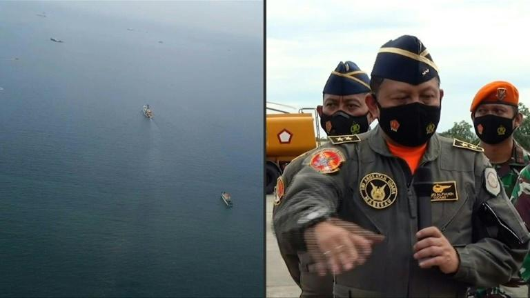 Aerial view of area being searched for crashed Indonesia plane
