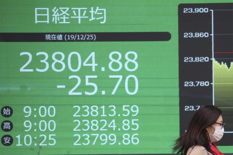 An woman walka by an electronic stock board of a securities firm in Tokyo, Wednesday, Dec. 25, 2019. Chinese and Japanese stocks declined Wednesday while most other Asian markets were closed for Christmas Day.(AP Photo/Koji Sasahara)