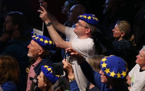 Pro remain voters during the People's Vote campaign launch on Brexit - Credit: Jonathan Brady/PA