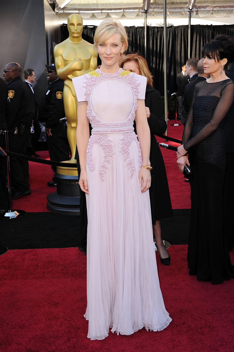 <p>Cate's lavender gown, created by Givenchy, looked like couture armor on the red carpet.</p>