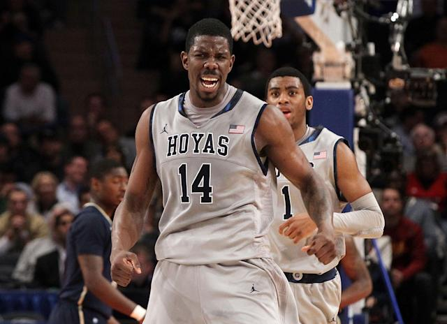 NEW YORK, NY - MARCH 07: Henry Sims #14 of the Georgetown Hoyas celebrates a play against the Pittsburgh Panthers during their second round game of the 2012 Big East Men's Basketball Tournament at Madison Square Garden on March 7, 2012 in New York City. (Photo by Jim McIsaac/Getty Images)