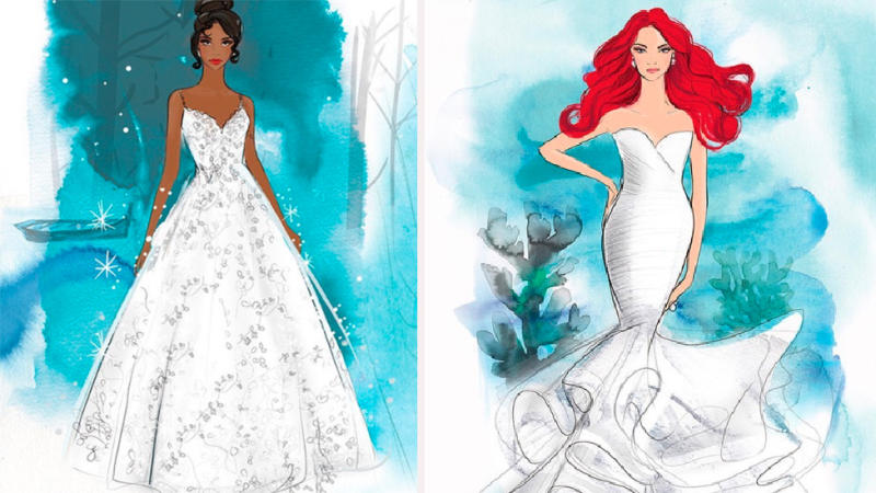 (Left) Princess Tiana-inspired wedding gown and (right) Ariel-inspired wedding dress from new Disney Bridal collection