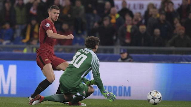 Shakhtar Donetsk fell short of just a second Champions League quarter-final appearance as their 10 men were beaten by Roma and Edin Dzeko.