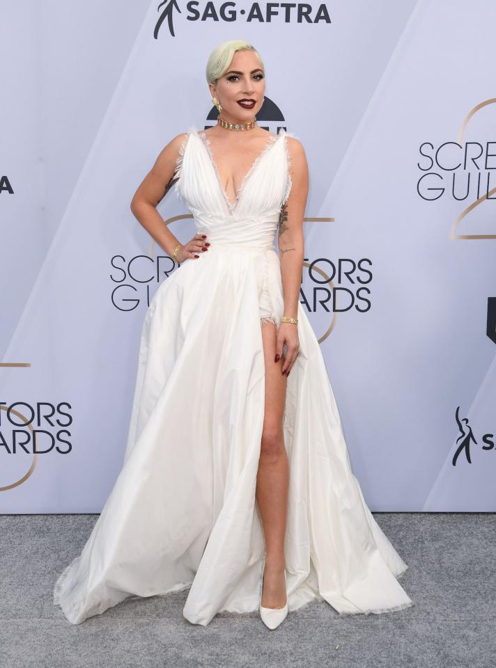 "<p>Lady Gaga's white Dior Couture look for the 2019 Screen Actors Guild Awards is fresh off the runway, as the gown <a rel=""nofollow"" href=""https://www.vogue.com/fashion-shows/spring-2019-couture/christian-dior"">debuted</a> at Paris Fashion Week mere days ago. Gaga, a nominee for Outstanding Performance by a Female Actor in <em>A Star Is Born,</em> is fresh from Las Vegas, where she and Bradley Cooper <a rel=""nofollow"" href=""https://www.vogue.com/fashion-shows/spring-2019-couture/christian-dior"">performed</a> ""Shallow"" live for the first time since the film's release. (Photo: Getty Images) </p>"