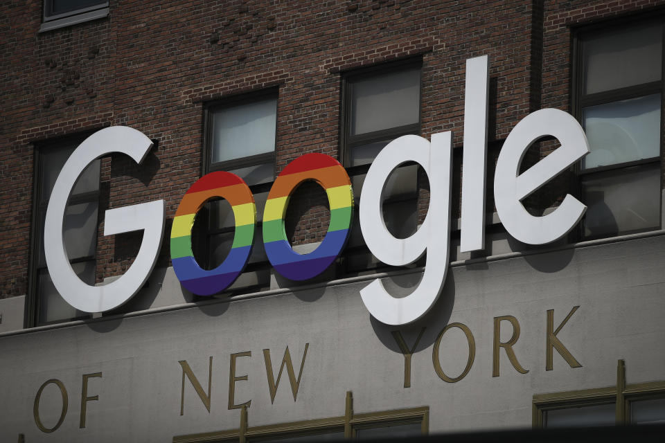 NEW YORK, NY - JUNE 3: The Google logo adorns the outside of their NYC office Google Building 8510 at 85 10th Ave on June 3, 2019 in New York City. (Photo by Drew Angerer/Getty Images)