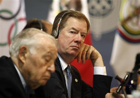 U.S. Olympic Committee chairman Probst looks on during a meeting with the Pan American Games organising committee in Guadalajara