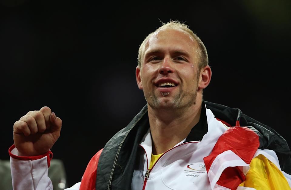 Harting was reunited with clothing. Emasculated men everywhere thanked him for that. His country thanked him for being a champion discus thrower. The world thanked him for the spectacular celebration of victory. And Hulk Hogan undoubtedly thanked him for helping the world remember. (Photo by Quinn Rooney/Getty Images)