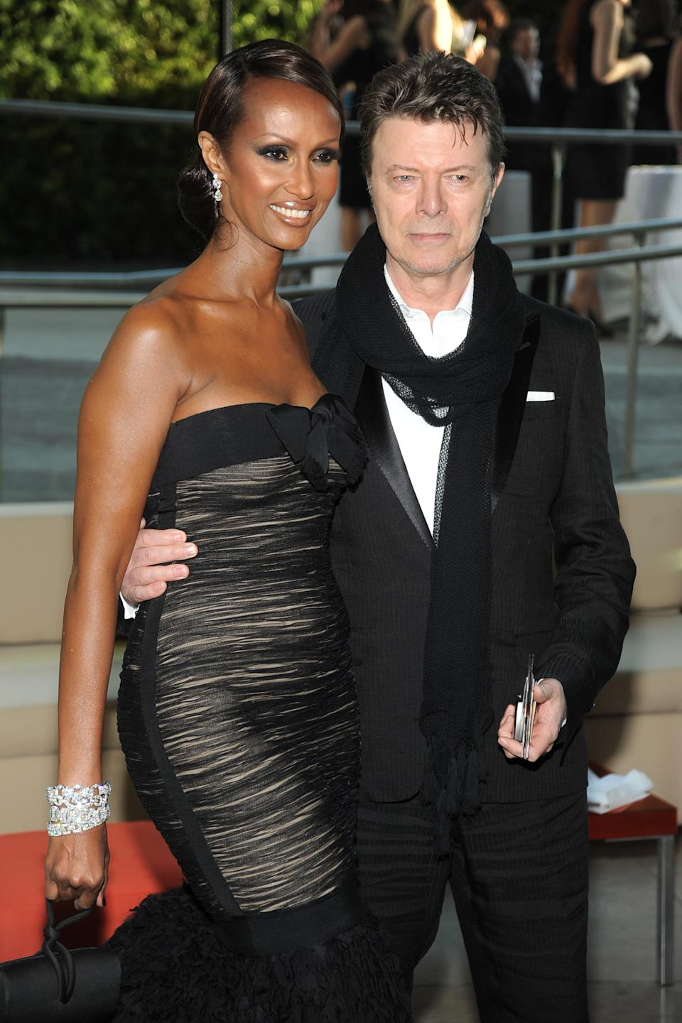 Iman and David Bowie attend 2010 CFDA Awards- Arrivals at Alice Tully Hall on June 7, 2010 in New York City. (Photo by BILLY FARRELL/Patrick McMullan via Getty Images)