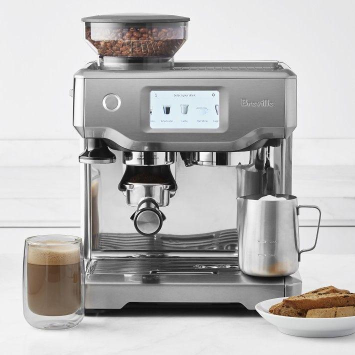 """<p><strong>Breville </strong></p><p>williams-sonoma.com</p><p><strong>$999.95</strong></p><p><a href=""""https://go.redirectingat.com?id=74968X1596630&url=https%3A%2F%2Fwww.williams-sonoma.com%2Fproducts%2Fbreville-barista-touch-espresso-maker_0&sref=https%3A%2F%2Fwww.harpersbazaar.com%2Fwedding%2Fplanning%2Fg33647953%2Ffourth-anniversary-gift-ideas%2F"""" rel=""""nofollow noopener"""" target=""""_blank"""" data-ylk=""""slk:SHOP NOW"""" class=""""link rapid-noclick-resp"""">SHOP NOW</a></p><p>It may be time to upgrade your morning routine—especially after a year spent indoors. This classic espresso machine has a modern feel, turns your morning brew into barista-quality cups, and will look sleek on any countertop. </p>"""