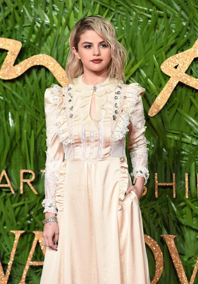 Selena Gomez attends the 2017 Fashion Awards in London. (Photo: Yunus Dalgic/Anadolu Agency/Getty Images)