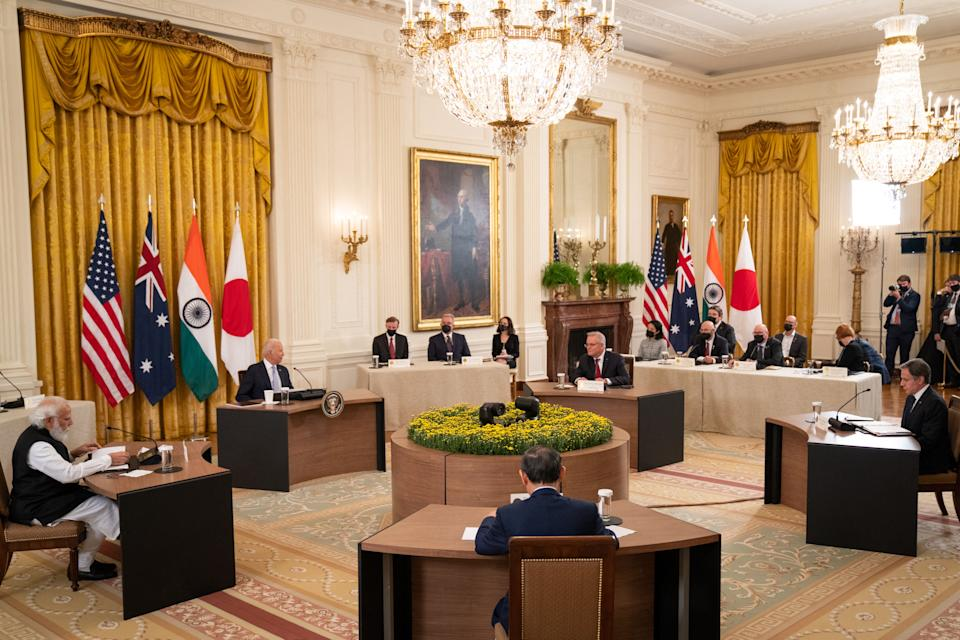 WASHINGTON, DC - SEPTEMBER 24: U.S. President Joe Biden hosts a Quad Leaders Summit along with Indian Prime Minister Narendra Modi, Australian Prime Minister Scott Morrison and Japanese Prime Minister Suga Yoshihide in the East Room of the White House on September 24, 2021 in Washington, DC. The four leaders are expected to discuss a range of topics including climate change, Covid-19 vaccines and a free and open Indo-Pacific ocean region.   Sarahbeth Maney-Pool/Getty Images/AFP / AFP / GETTY IMAGES NORTH AMERICA / POOL