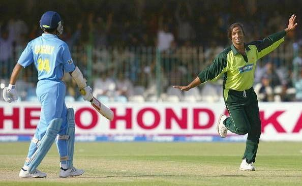 Shoaib Akhtar celebrates after getting Ganguly out