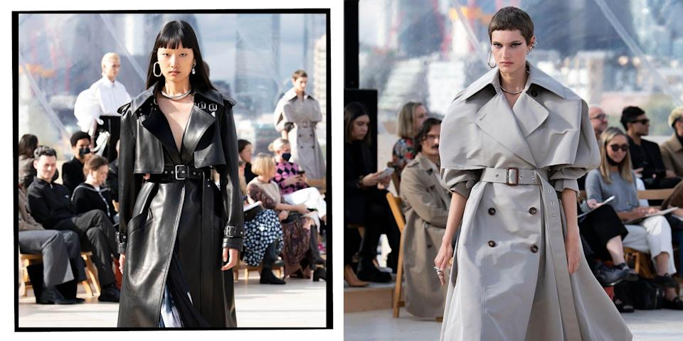 """<p>Whether it's a perfectly structured <a href=""""https://www.elle.com/uk/fashion/what-to-wear/articles/g30975/best-trench-coats-beige-navy-black/"""" rel=""""nofollow noopener"""" target=""""_blank"""" data-ylk=""""slk:trench coat"""" class=""""link rapid-noclick-resp"""">trench coat</a>, <a href=""""https://www.elle.com/uk/fashion/what-to-wear/articles/g31269/best-faux-fur-coats-jackets-to-buy-now-high-street-designer/"""" rel=""""nofollow noopener"""" target=""""_blank"""" data-ylk=""""slk:faux fur coat"""" class=""""link rapid-noclick-resp"""">faux fur coat</a> or pop of colour to brighten up the dull days, the catwalks of SS22 were full of the best outerwear inspiration you're going to find. From Celine, to Vuitton, let the runways guide you through the coming season's trends, from fabric through to cut and shape. </p>"""