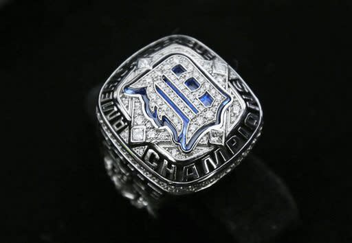 An American League championship ring is displayed before the rings were presented to the Detroit Tigers at their baseball game against the New York Yankees in Detroit, Saturday, April 6, 2013. (AP Photo/Carlos Osorio)