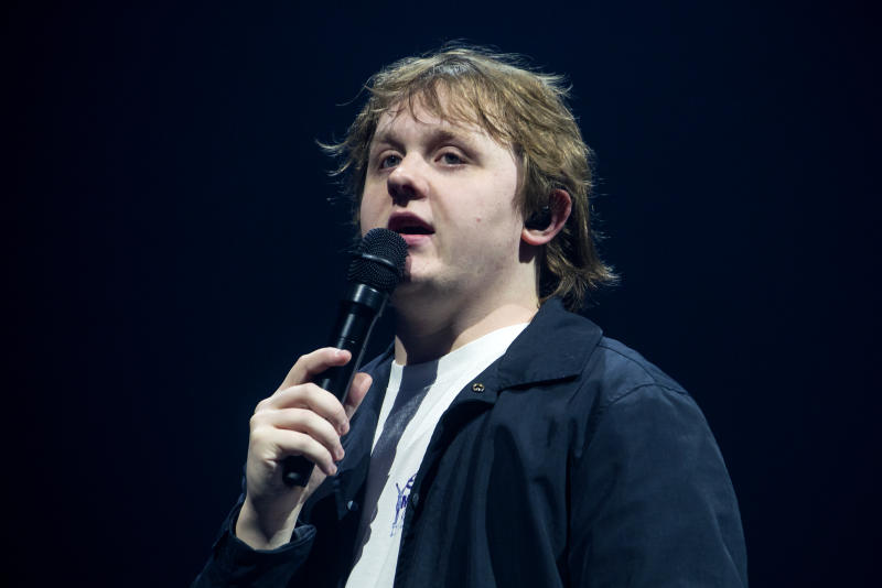 LONDON, ENGLAND - MARCH 12: Lewis Capaldi performs at The SSE Arena, Wembley on March 12, 2020 in London, England. (Photo by Matthew Baker/Getty Images)
