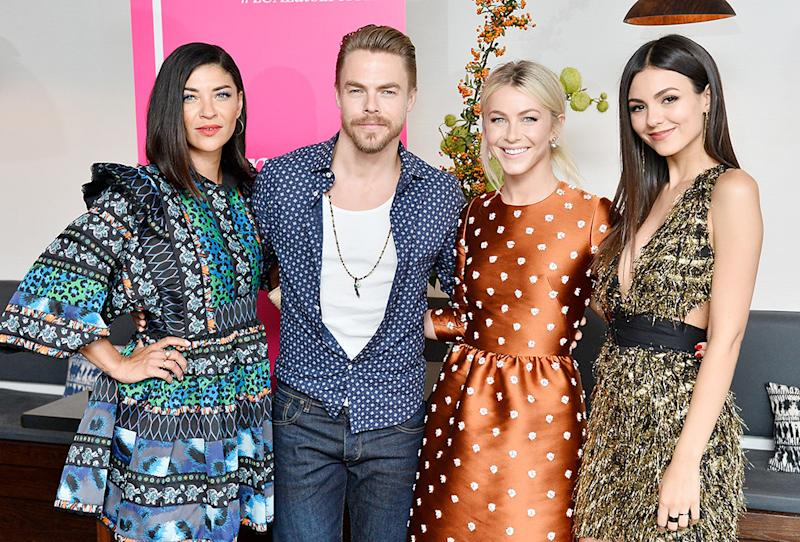 Jessica Szohr, Derek Hough, Julianne Hough, and Victoria Justice attend Nina Dobrev celebrates the <em>harper by Harper's Bazaar</em> September Issue at Rosaline in West Hollywood on Aug. 22.