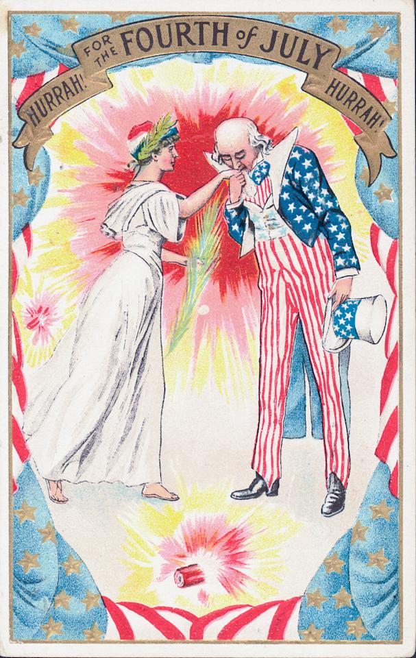 <p>Illustrated color postcard celebrating the Fourth of July holiday, depicting 'Uncle Sam' kissing the hand of the Statue of Liberty. (Photo: Kean Collection/Archive Photos/Getty Images) </p>