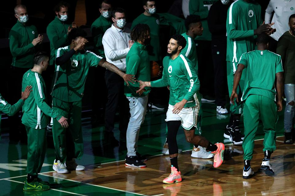 Jayson Tatum is announced before the game against the Washington Wizards on Jan. 8.