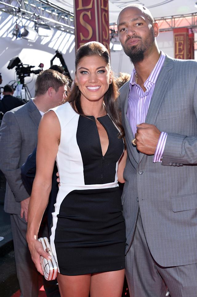 LOS ANGELES, CA - JULY 17: (L-R) USA soccer player Hope Solo and former NFL player Jerramy Stevens attend The 2013 ESPY Awards at Nokia Theatre L.A. Live on July 17, 2013 in Los Angeles, California. (Photo by Alberto E. Rodriguez/Getty Images for ESPY)
