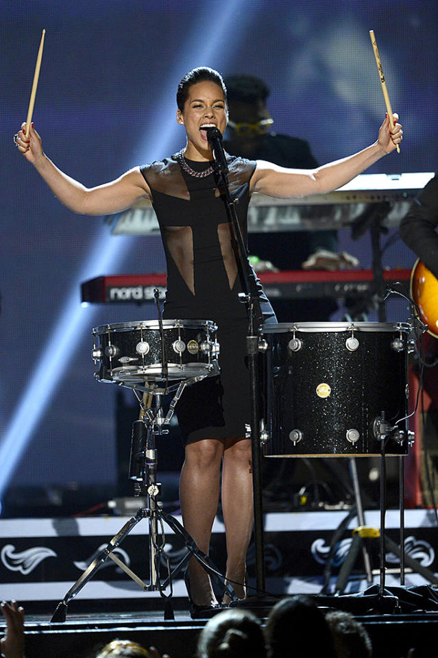 Who knew Alicia Keys could also kill it on the drums?