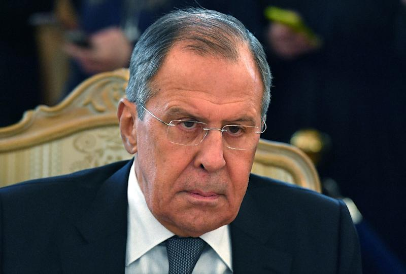 Russian Foreign Minister Sergei Lavrov attends a meeting with his Dutch counterpart in Moscow on April 13, 2018