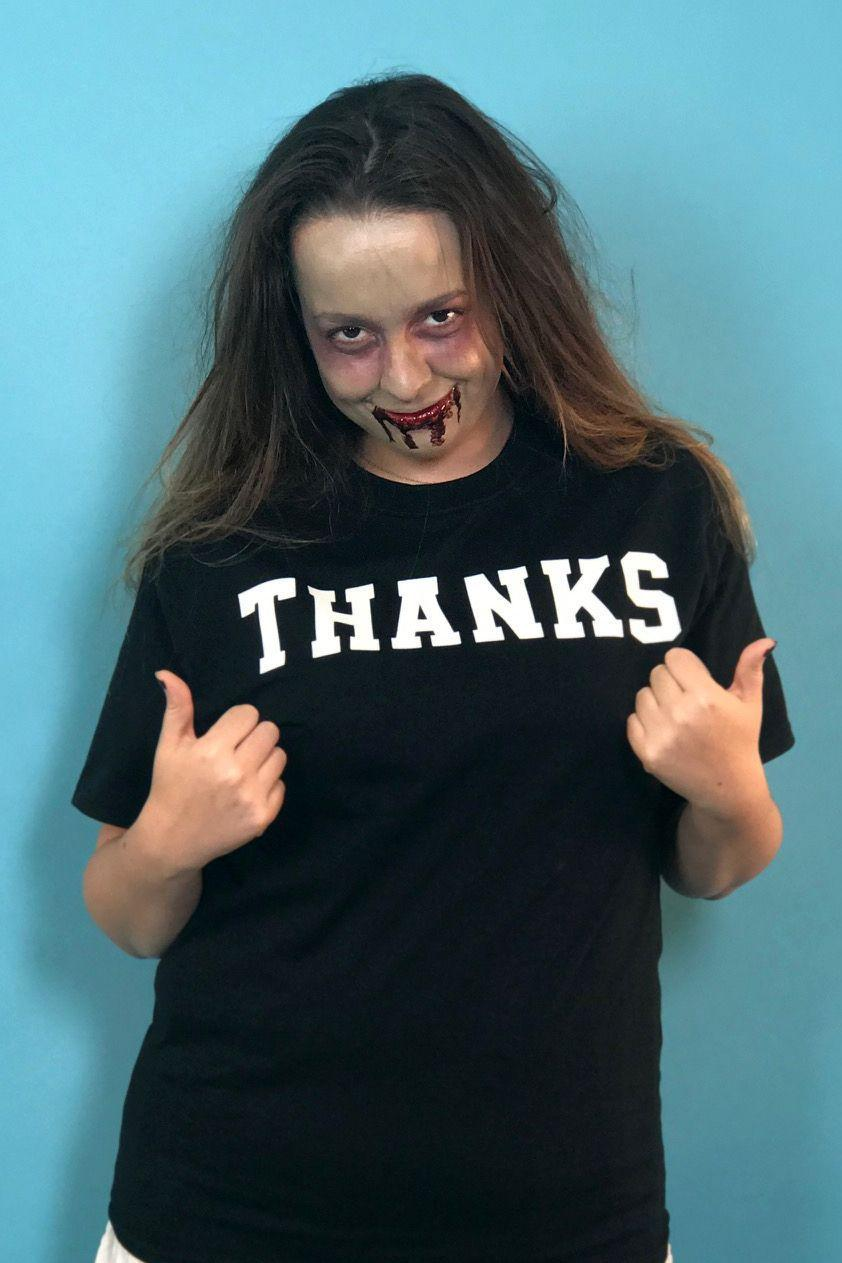 "<p>For those who love puns, zombies, and jam bands, this costume can't be topped. Simply write or iron the word ""thanks"" on a solid T-shirt and pair it with some undead makeup.</p><p><strong><a class=""link rapid-noclick-resp"" href=""https://www.amazon.com/Mehron-Makeup-Premium-Character-Zombie/dp/B00454XPHW/ref=sr_1_2_sspa?tag=syn-yahoo-20&ascsubtag=%5Bartid%7C10055.g.3848%5Bsrc%7Cyahoo-us"" rel=""nofollow noopener"" target=""_blank"" data-ylk=""slk:SHOP ZOMBIE MAKEUP KITS"">SHOP ZOMBIE MAKEUP KITS</a></strong></p>"