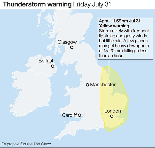 Thunderstorm warning July 31