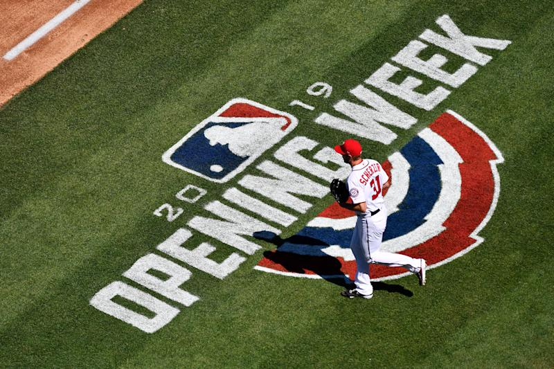 WASHINGTON, DC - MARCH 28: Max Scherzer #31 of the Washington Nationals takes the field before the start of the first inning against the New York Mets on Opening Day at Nationals Park on March 28, 2019 in Washington, DC. (Photo by Patrick McDermott/Getty Images)