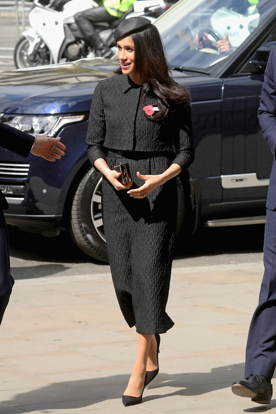 <p>Markle's cropped jacket and custom dress by Emilia Wickstead was the perfect choice for the Anzac Day memorial at Westminster Abbey. </p>
