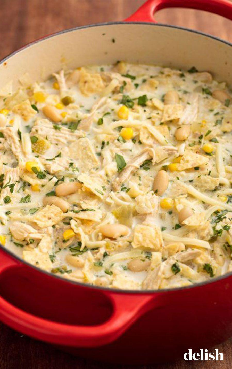 """<p>When we're craving something hearty and healthy, this chicken chili immediately jumps to mind. </p><p>Get the recipe from <a href=""""https://www.delish.com/cooking/recipe-ideas/recipes/a57946/easy-white-chicken-chili-recipe/"""" rel=""""nofollow noopener"""" target=""""_blank"""" data-ylk=""""slk:Delish"""" class=""""link rapid-noclick-resp"""">Delish</a>.</p>"""