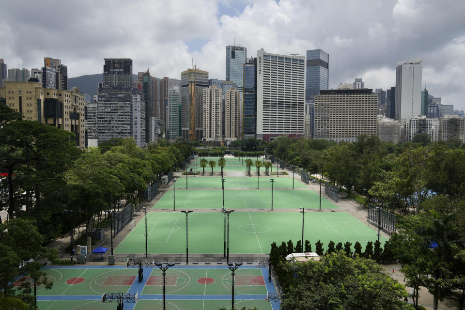 Hong Kong's Victoria Park where the annual protest rally was held for the anniversary of Hong Kong handover to China, is closed, in Hong Kong, Thursday, July 1, 2021.(AP Photo/Kin Cheung)