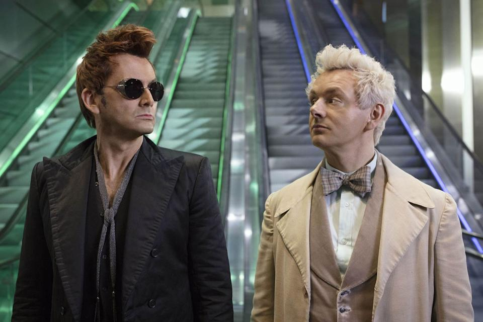 David Tennant and Michael Sheen in Good Omens (Credit: Amazon)