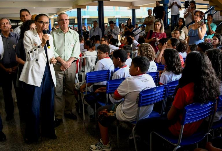 Environmentalist Marina Silva visits a school in Gama, near Brazil's capital Brasilia, in August as she campaigns for president