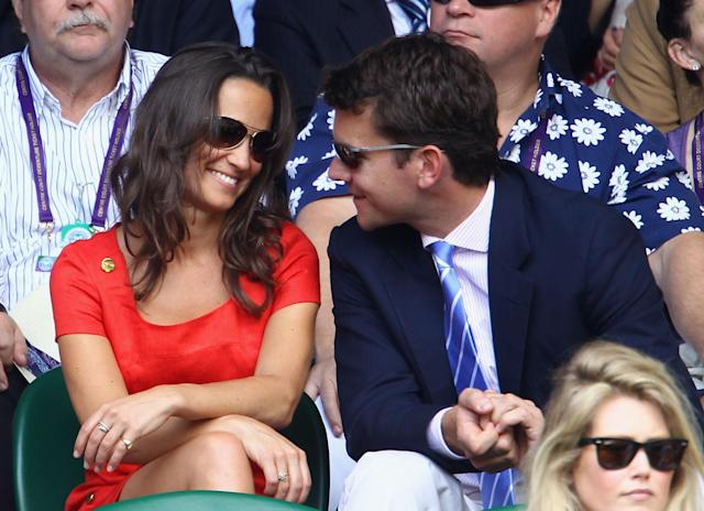LONDON, ENGLAND - JUNE 29: Pippa Middleton and Alex Loudon attend the quarterfinal round match between Roger Federer of Switzerland and Jo-Wilfried Tsonga of France on Day Nine of the Wimbledon Lawn Tennis Championships at the All England Lawn Tennis and Croquet Club on June 29, 2011 in London, England. (Photo by Julian Finney/Getty Images)
