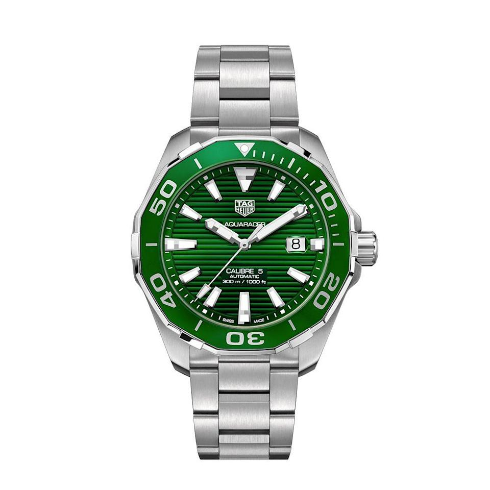 "<p><a class=""link rapid-noclick-resp"" href=""https://www.tagheuer.com/us/en/timepieces/collections/tag-heuer-aquaracer/43-mm-calibre-5-automatic/WAY201S.BA0927.html"" rel=""nofollow noopener"" target=""_blank"" data-ylk=""slk:BUY IT HERE"">BUY IT HERE</a></p><p>TAG Heuer watches are known for their sleek sense of sport and famous for their chronographs, often taking inspiration from Formula 1 racing. This Emerald-faced watch shows the brand's expertise in bold color, while still creating a handsome watch that can truly be worn anywhere. </p>"