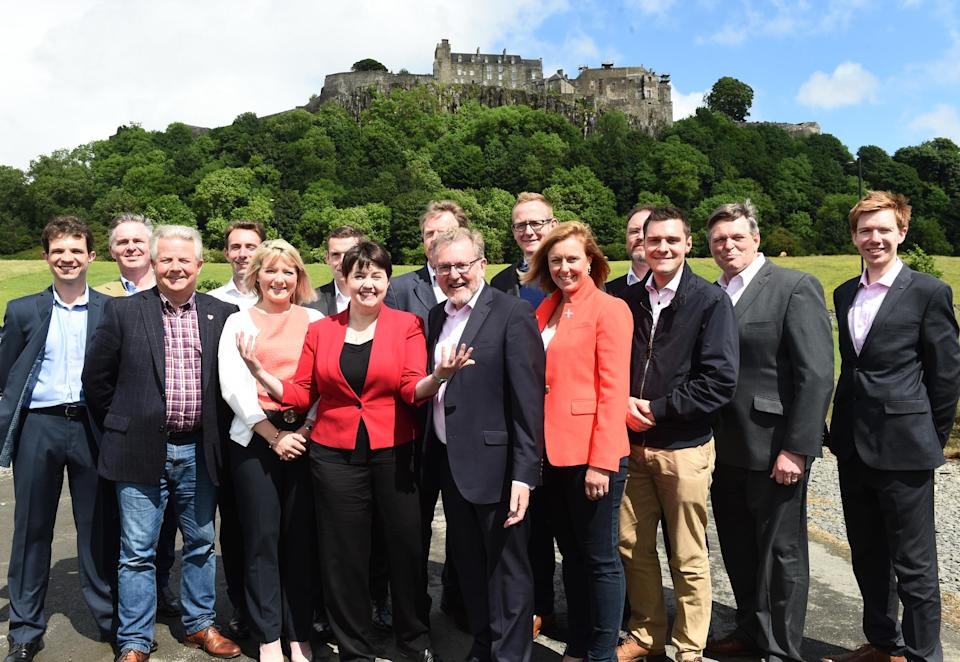Mr Thomson (third from right) was one of 13 Scottish Tory MPs elected in 2017 under the leadership of Ruth Davidson (Lesley Martin/PA)
