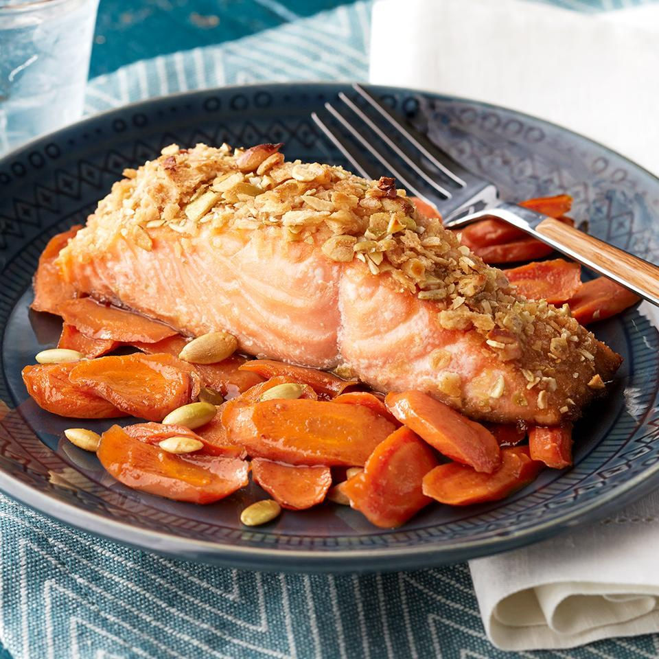 <p>Because this one-pan meal is ready in just 35 minutes, it's a good choice for a healthy recipe after you've had a long day at the office. Maple-spiced carrots cook alongside pepita-crusted salmon fillets and deliver amazing taste and nutrition in a dinner the whole family will devour.</p>
