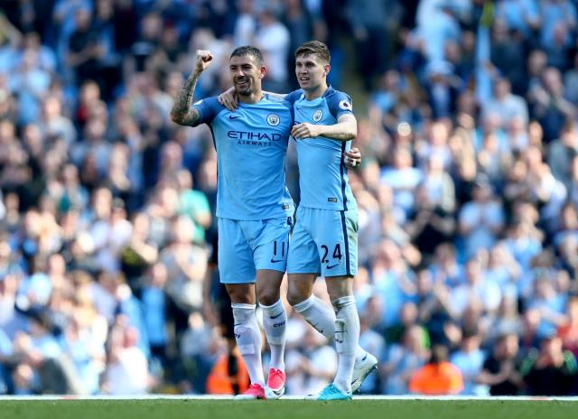 <p>Manchester City celebrate their opening goal</p>